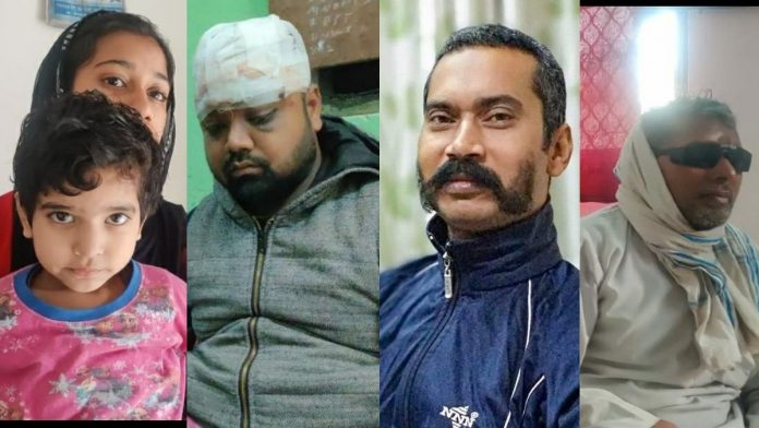(From left) Images of five-year-old Alisha Khan, whose father was a riot victim, Monu Kumar, who also lost his father in the violence, Delhi Police head constable Ratan Lal, who was shot dead, and Mohammed Wakeel, who lost his vision | ThePrint photos