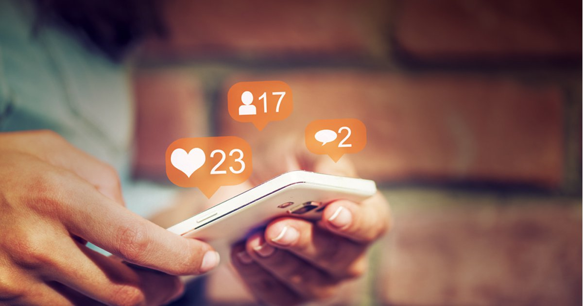phone with social media pings